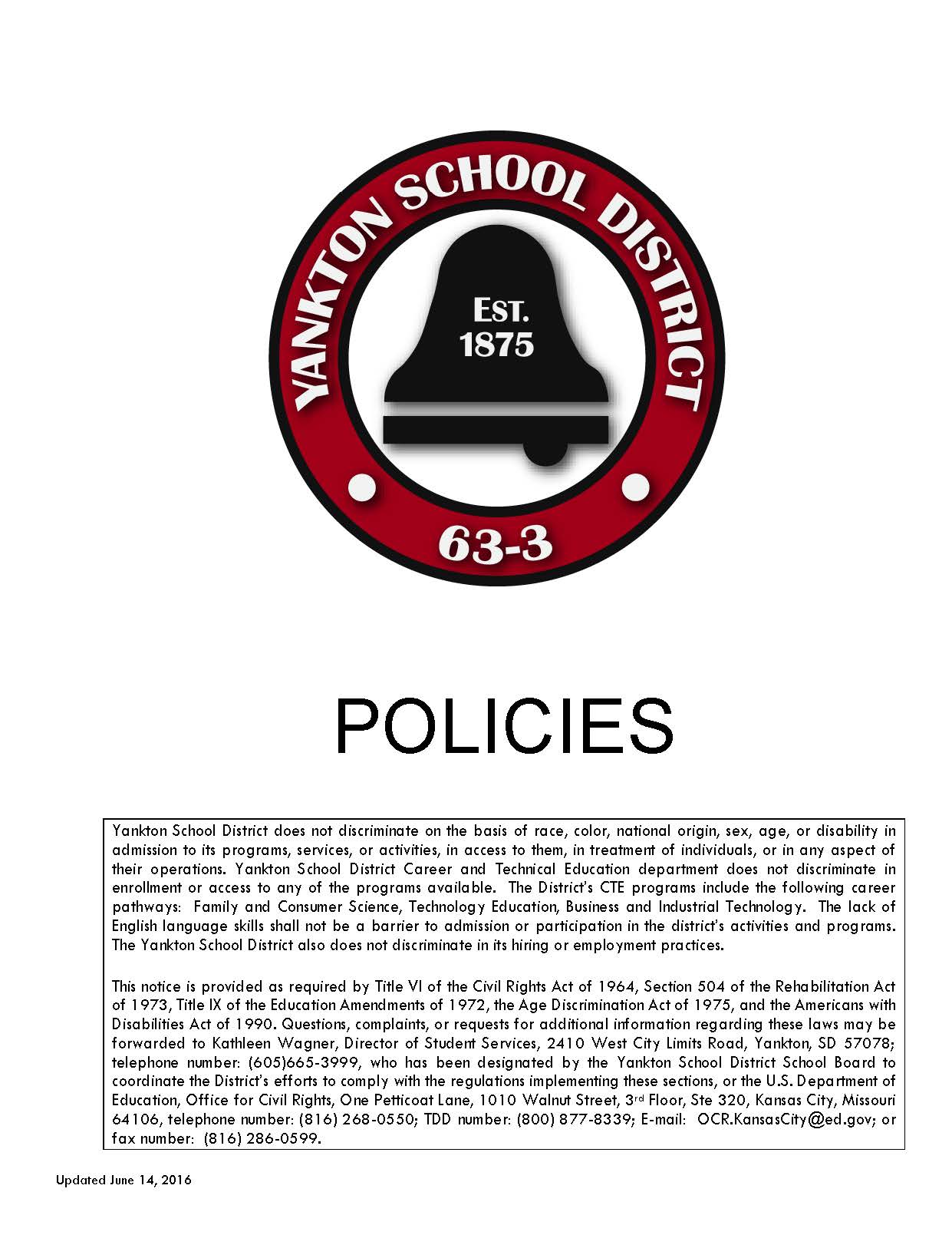 Cover page of Yankton School District Policies Book